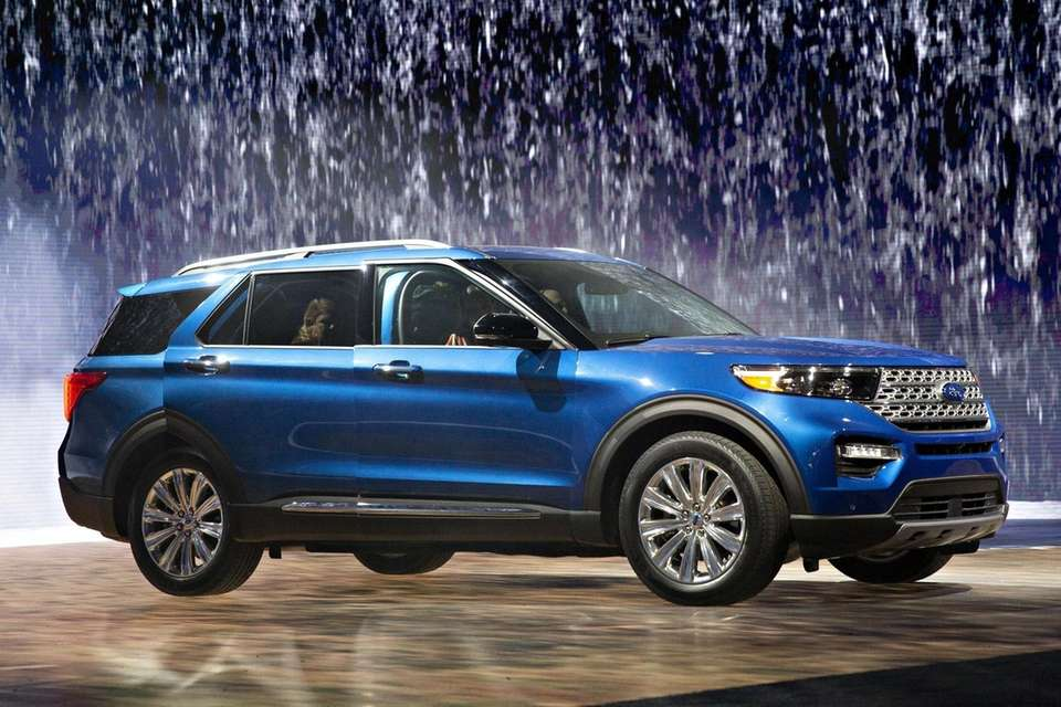 A Ford Motor Co. Explorer Hybrid SUV is