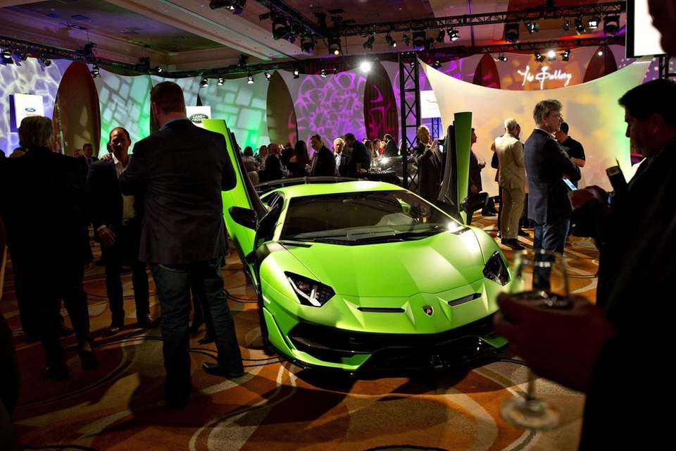 An Automobili Lamborghini SpA Aventador vehicle sits on