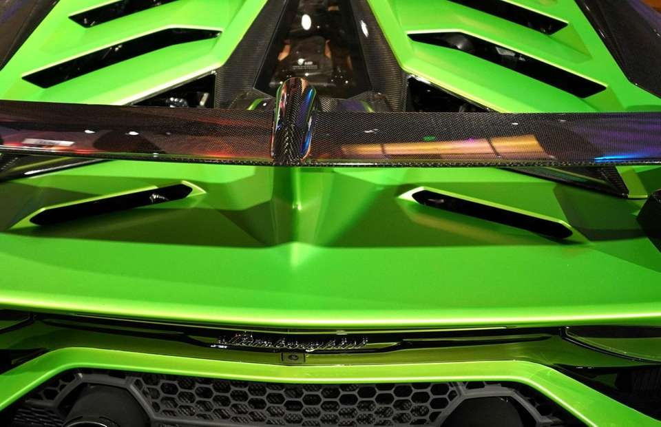 A Lamborghini Aventadoron is on display in Detroit