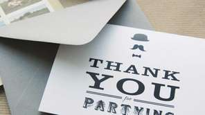 A wedding thank you note, designed by Swiss