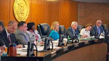 Town of Hempstead Supervisor Laura Gillen, center, at