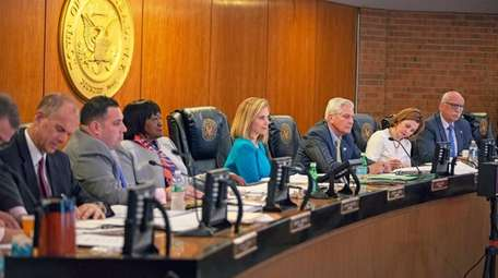Town of Hempstead Supervisor Laura Gillen, center, at