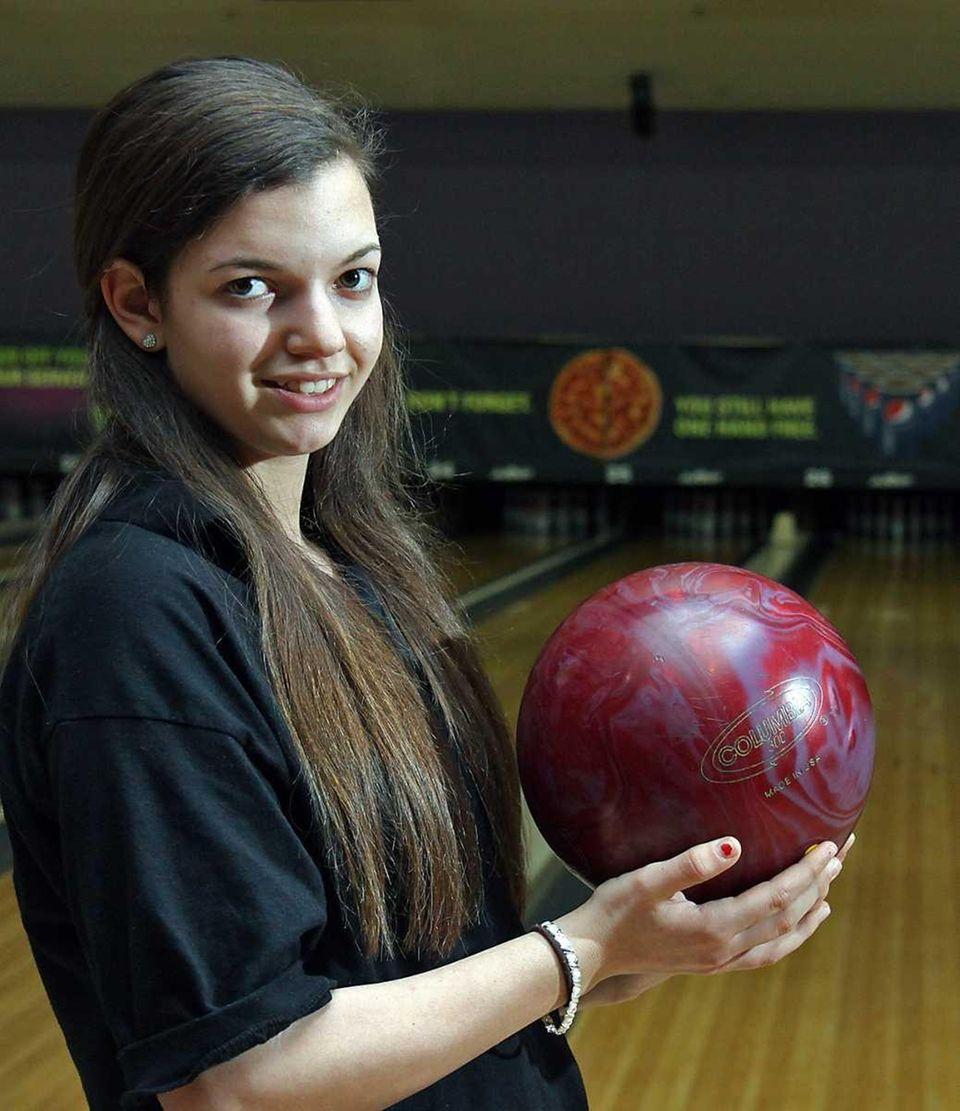 Sewanhaka District High School bowler 14-year-old Kristina Genova