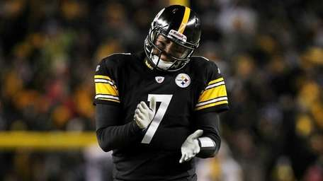 Ben Roethlisberger #7 of the Pittsburgh Steelers reacts