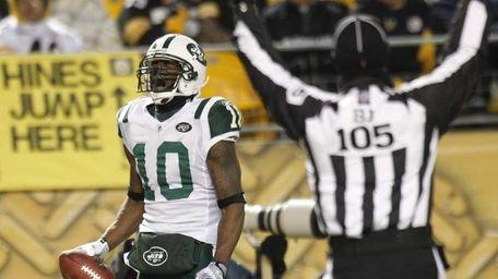 New York Jets wide receiver Santonio Holmes (10)