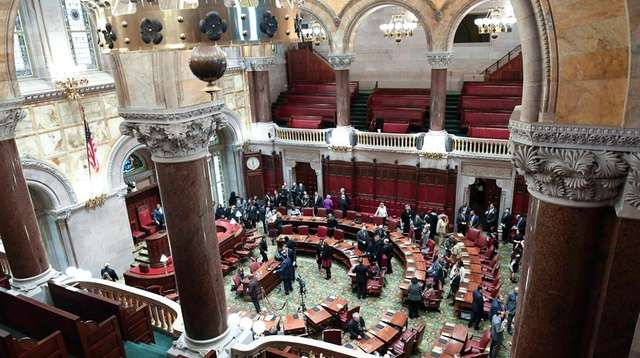 Senate members meet during opening day of the
