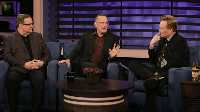 Andy Richter, left, Tom Hanks and Conan O'Brien