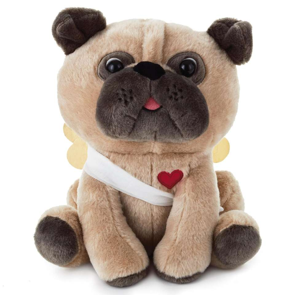 This stuffed animal Pug is ready for Valentine's