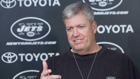 Jets head coach Rex Ryan speaks to reporters