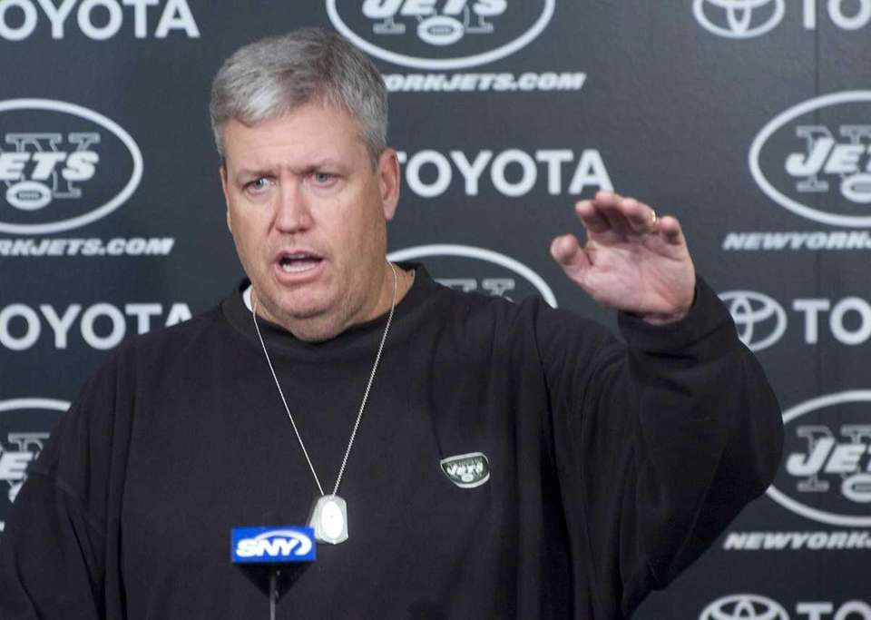 Jets head coach Rex Ryan speaks to reporters