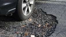 A pothole in Northport on Jan. 4, 2019.