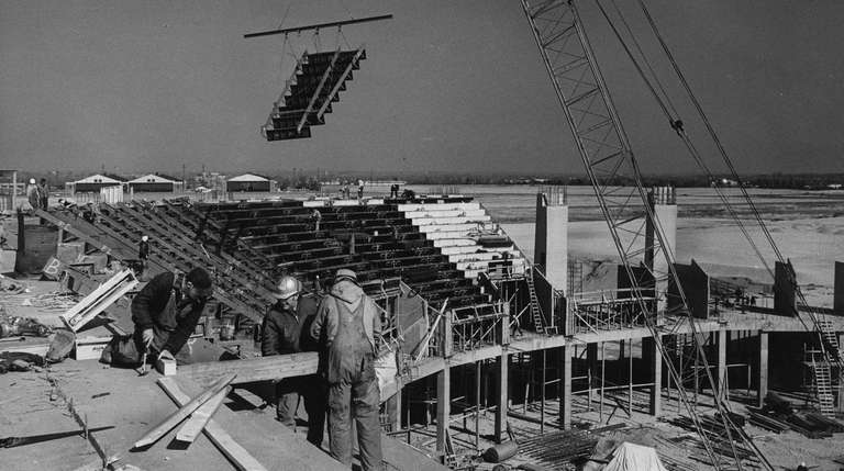 A view of the Nassau Coliseum under construction