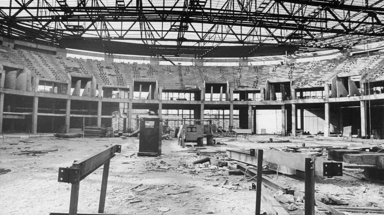 View inside the Nassau Coliseum during construction showing