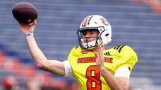 South quarterback Jarrett Stidham of Auburn throws a