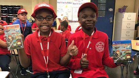 Kidsday reporters Kentrell Felts, left, and Daniel Johnson,