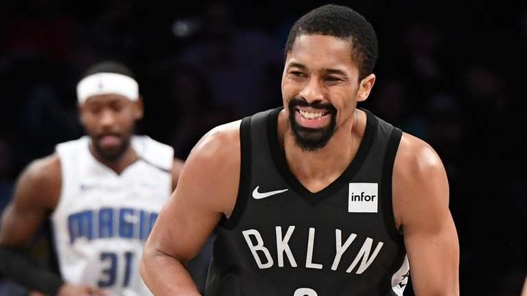 Brooklyn Nets guard Spencer Dinwiddie reacts after he