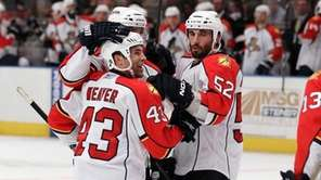Mike Weaver #43 of the Florida Panthers celebrates