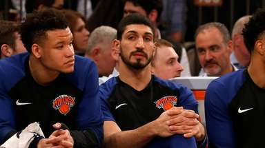 Kevin Knox #20 (L) and Enes Kanter #00