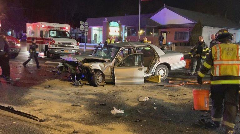 The Mercury sedan after a crash on Middle