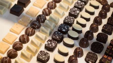 Assorted handcrafted chocolates at the North Fork Chocolate