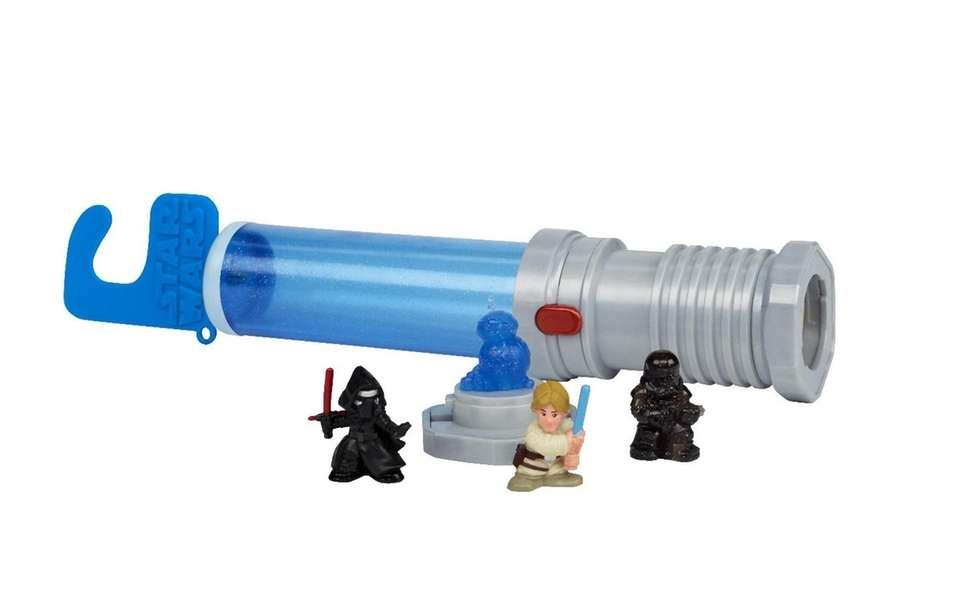 Open the lightsaber blade to reveal small-scale figures