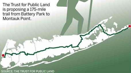 A graphic depicting the proposed 175-mile trail from