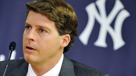 Yankees executive vice president Hal Steinbrenner speaks during