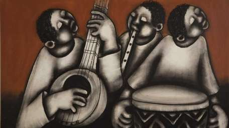 Three Musicians, undated, by David Mbele (1940-2010). Mixed