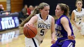 Smithtown West's Brianna Guglielmo (5) drives to the