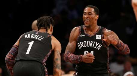 D'Angelo Russell of the Nets celebrates a three-point