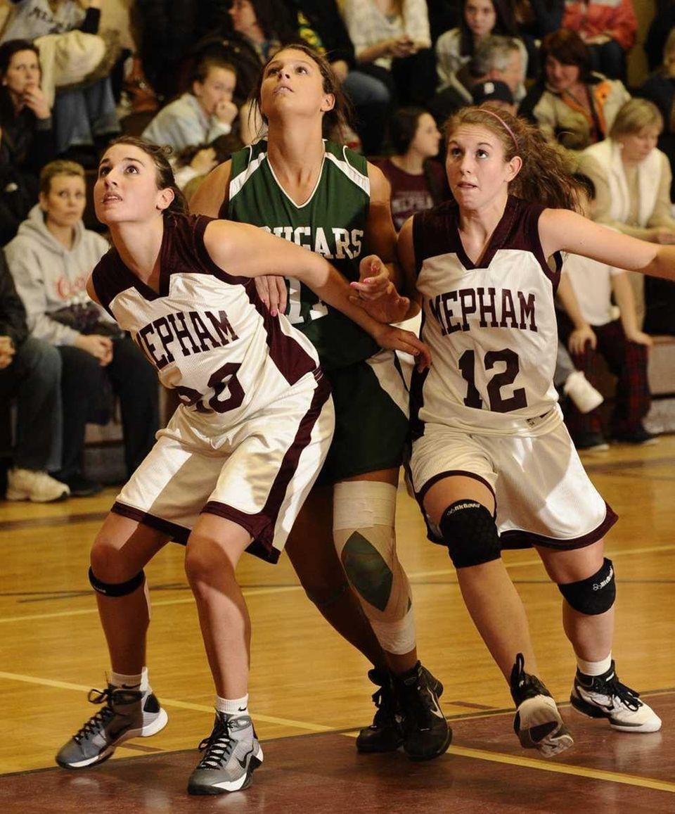 Mepham's Nicole Castaldo, left, and Jillian Picinich, right,