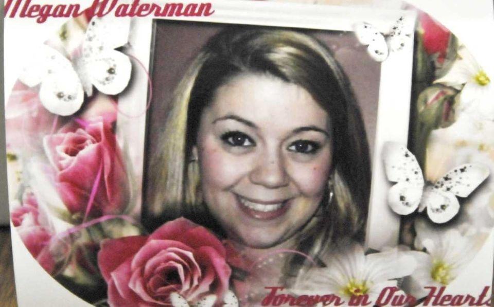 A photograph of Megan Waterman on display