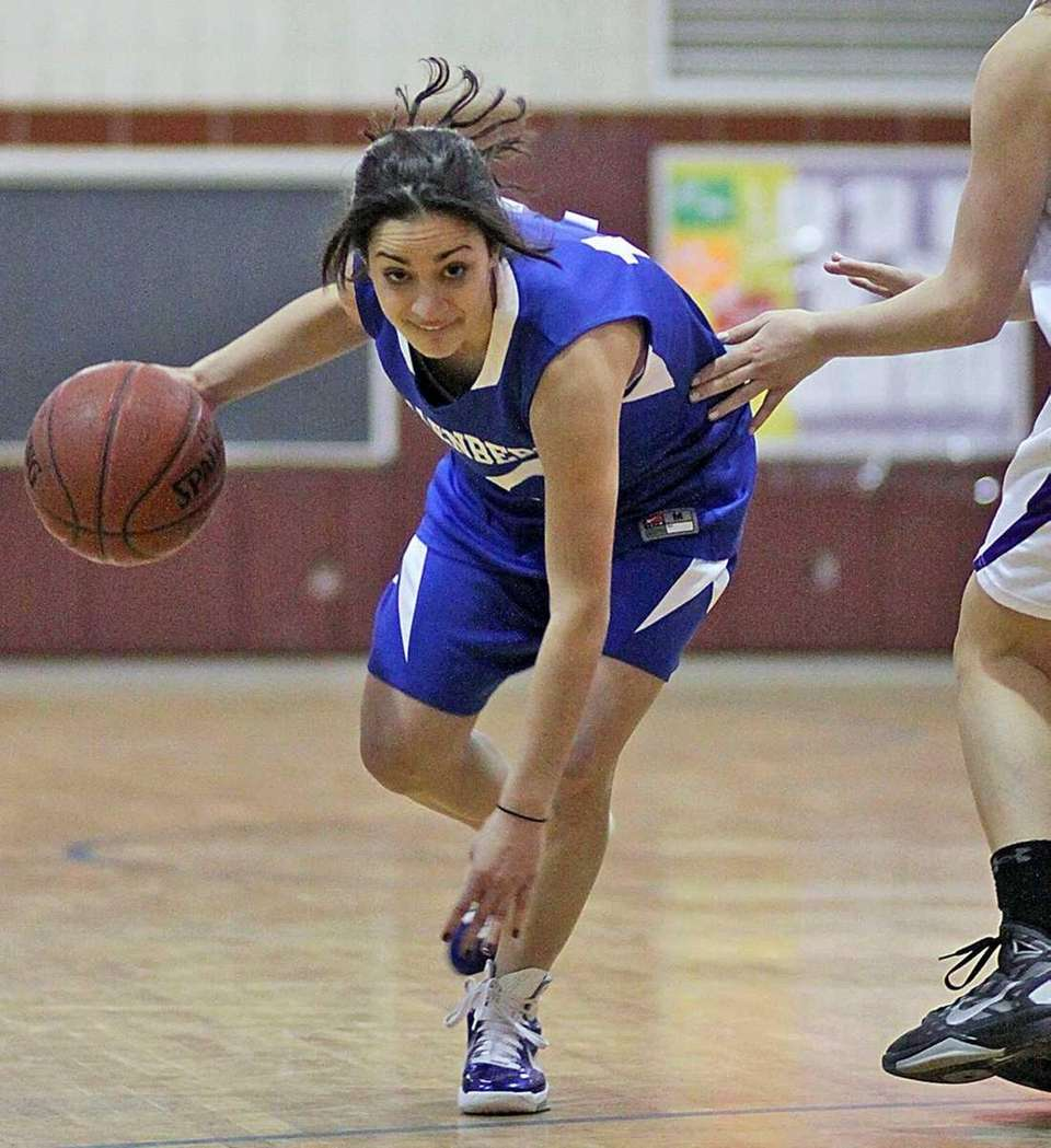 Kellenberg's Sandra Morrongiello moves toward the basket against