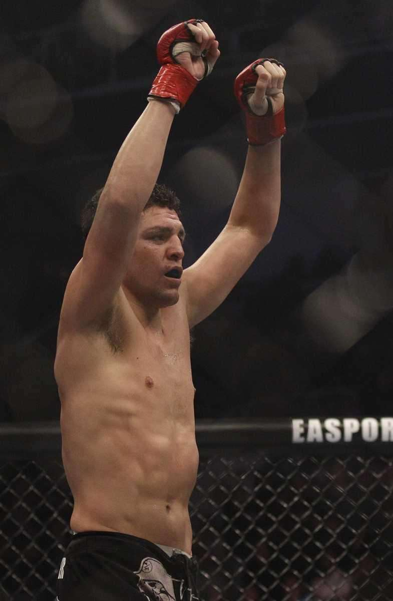 Nick Diaz celebrates after submitting Evangelista