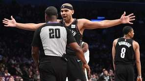 Nets forward Jared Dudley reacts to a call