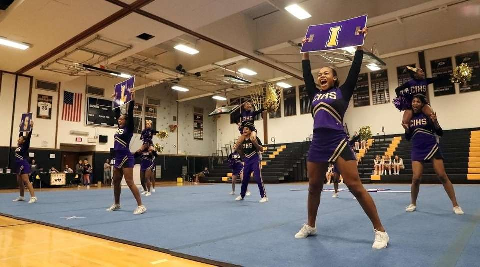 The Central Islip High School varisty cheerleaders perform