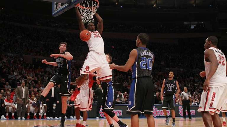 Justin Burrell #24 of the St. John's Red