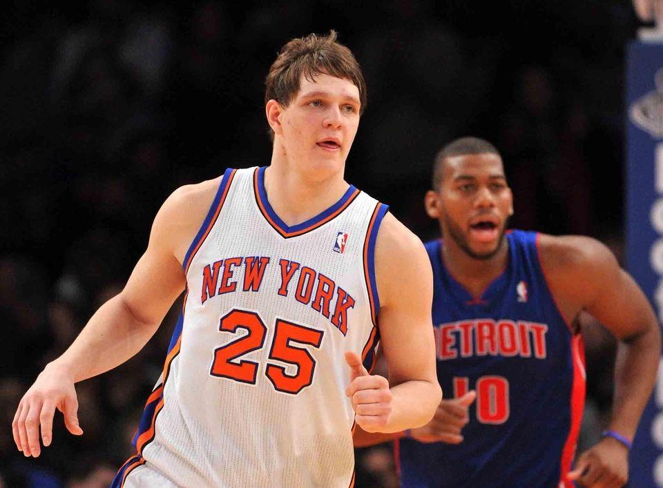 Knicks center Timofey Mozgov plays in the second