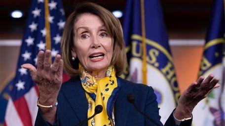 Speaker of the House Nancy Pelosi talks to