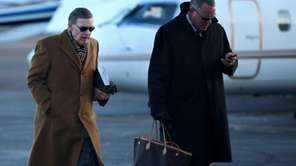 Baseball commissioner Bud Selig, left, arrives at Teterboro