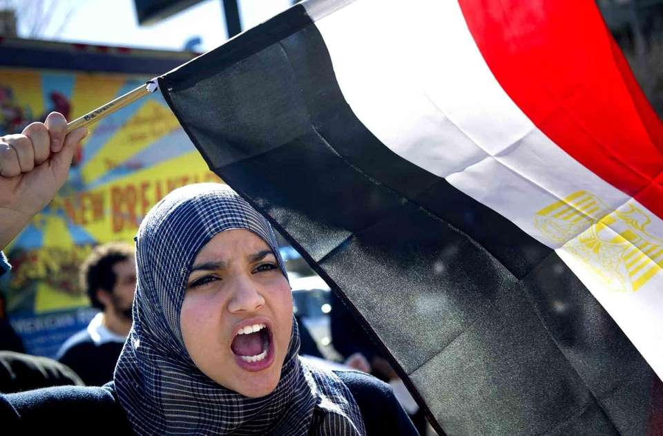 Noha Hamid, 16, along with several hundred other