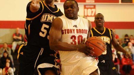 Stony Brook's Chris Martin drives to the basket