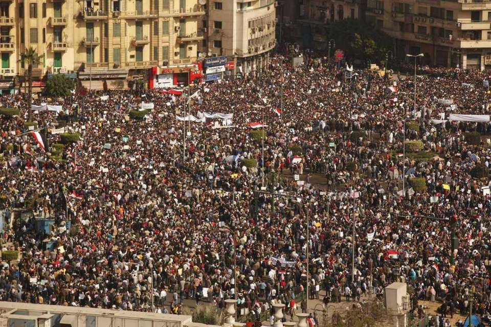 Protesters gather in Tahrir Square in Cairo, Egypt.