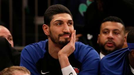 Enes Kanter #00 of the Knicks looks on