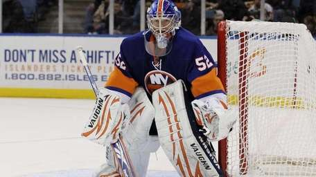Islanders goaltender Nathan Lawson in net against the