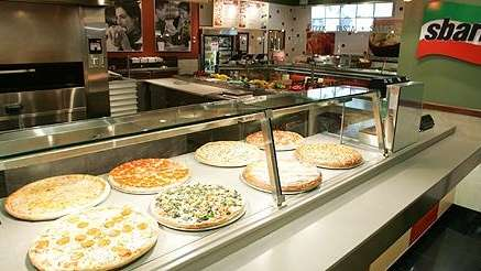 The Sbarro counter at Kings Plaza in Brooklyn,