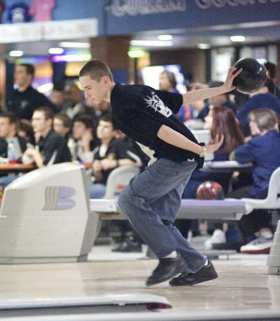 Islip's boys bowling team member Mike Kovarick during
