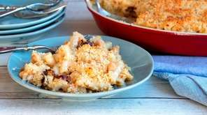 Mac-and-cheese with chickpeas and sun-dried tomatoes is topped