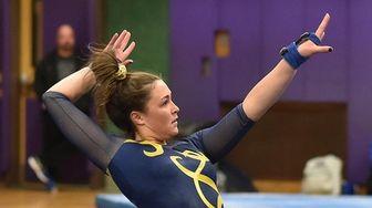 Heidi Baldinger of Massapequa performs her floor routine