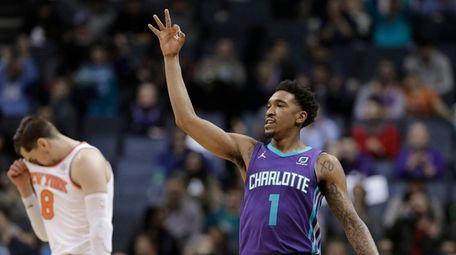 Charlotte Hornets' Malik Monk (1) gestures after making